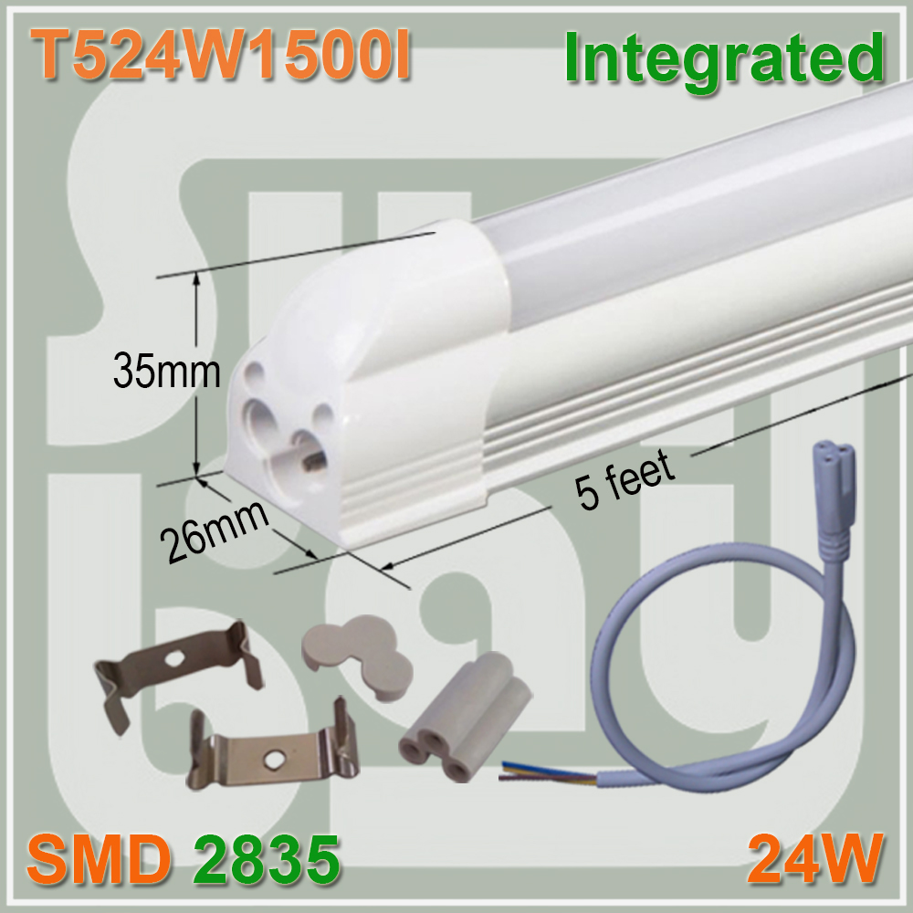 Free Shipping T5 Integrated Tube 5FT 24W LED Linear Tube Light Bulb Lamp With Accessory 4 pack free shipping t5 integrated led tube 4ft 20w milky transparent cover surface mounted bulb comes with accessory 85 277v