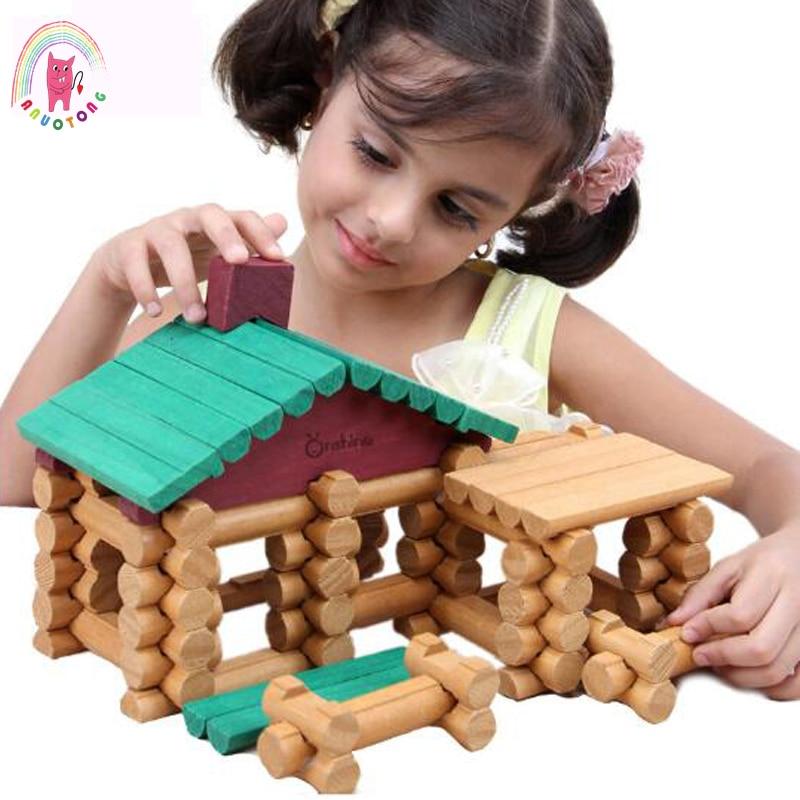 90 pièces bébé Compatible blocs de construction en bois forêt journaux ensemble bricolage jouet éducatif enfants anniversaire cadeau Architectural série