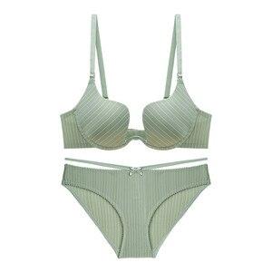 Image 5 - Varsbaby seksi U şeklinde sütyen toplamak iç çamaşırı seti çizgili yay balenli sütyen seti bayanlar için