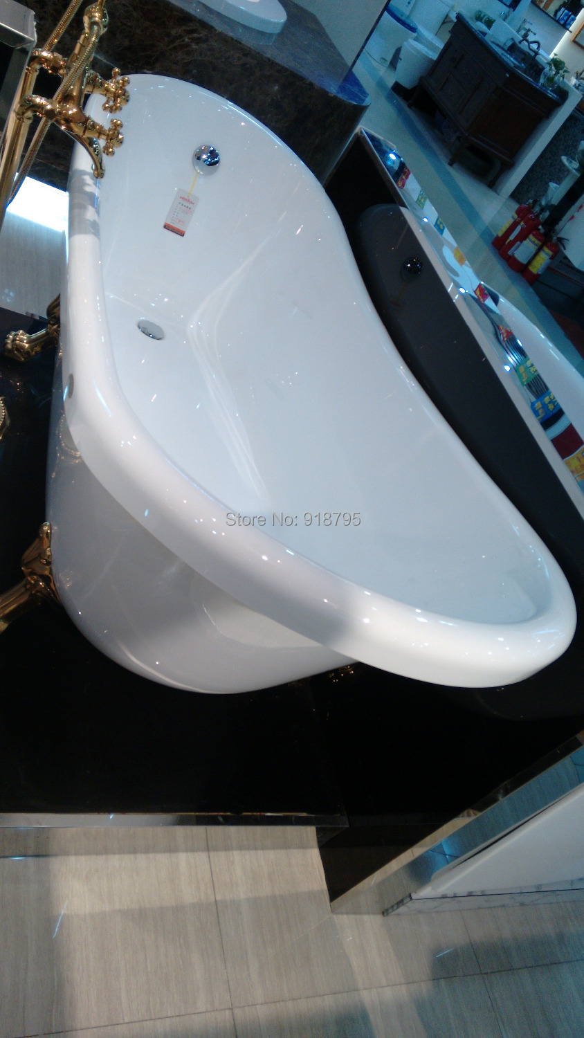 1750*800*820mm fiber glass bathtub with golden legs freestanding tub ...