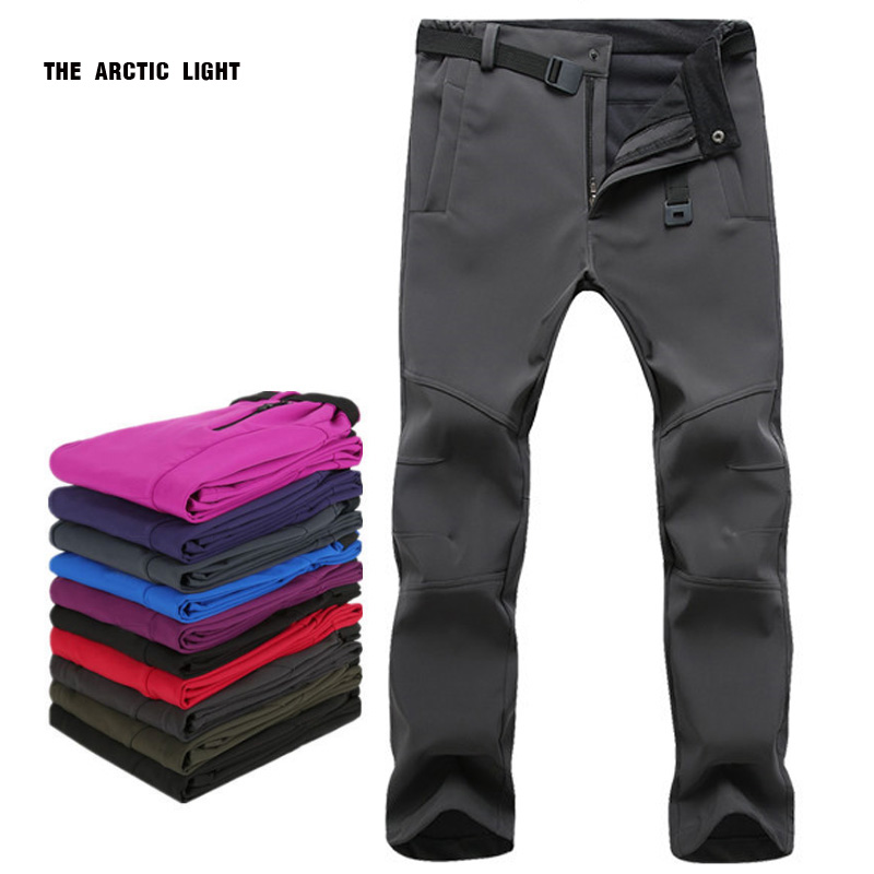 THE ARCTIC LIGHT Warm Winter Woman Men Outdoor Camping&hiking Pants Soft Shell Waterproof Fleece Windproof Pants Skiing Trousers