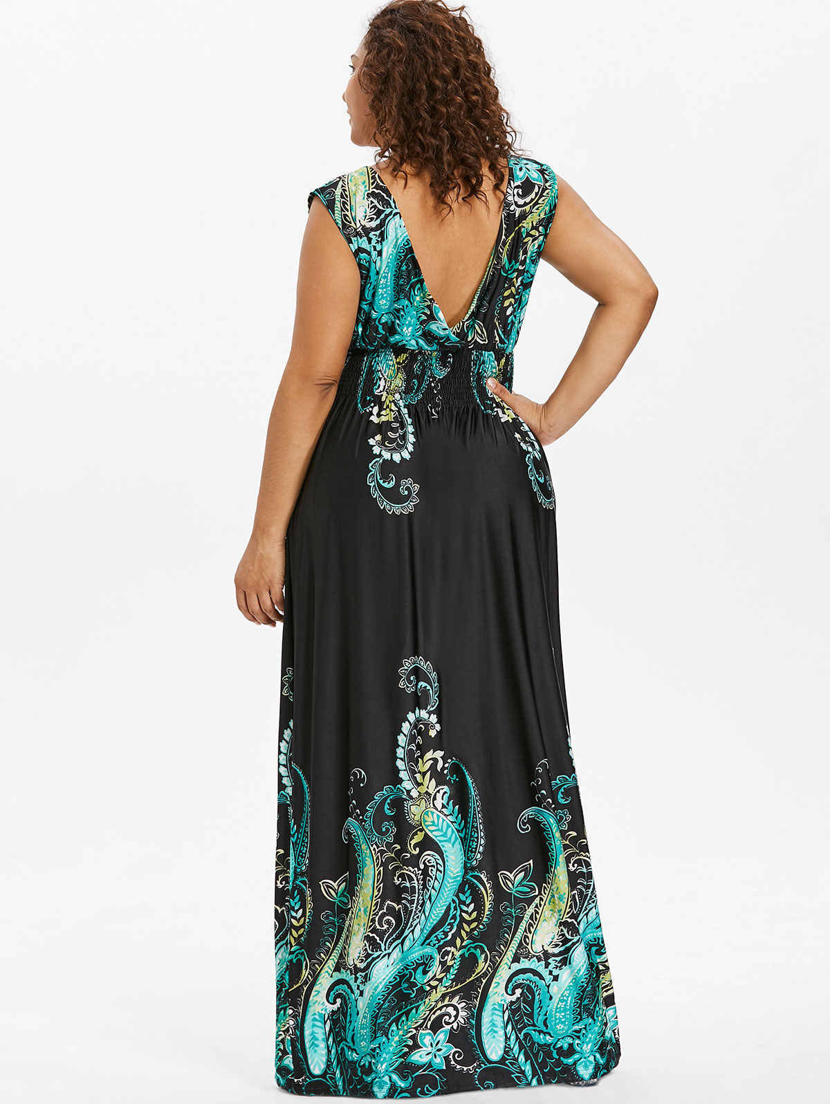 6865c0a9784 ... Wipalo Summer Paisley Plunge V Neck Bohemian Plus Size Women Dress  Casual Beach Maxi Dress Big ...