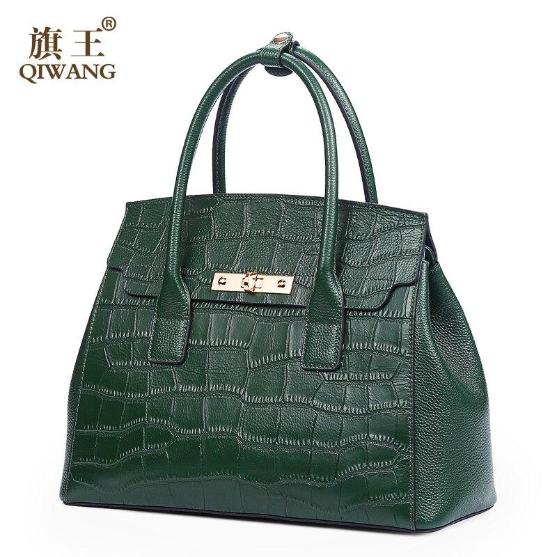 Qiwang Green Handbag Brand Design Women Crocodile Hand Bag Genuine Leather Bags Fashion Luxury Brand Tote Bag for Woman 2018Qiwang Green Handbag Brand Design Women Crocodile Hand Bag Genuine Leather Bags Fashion Luxury Brand Tote Bag for Woman 2018