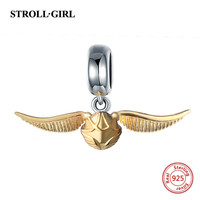 StrollGirl 925 Silver Charms Classic Golden Snitch Beads Fit Original Pandora Pendant Bracelet Jewelry Accessory Making