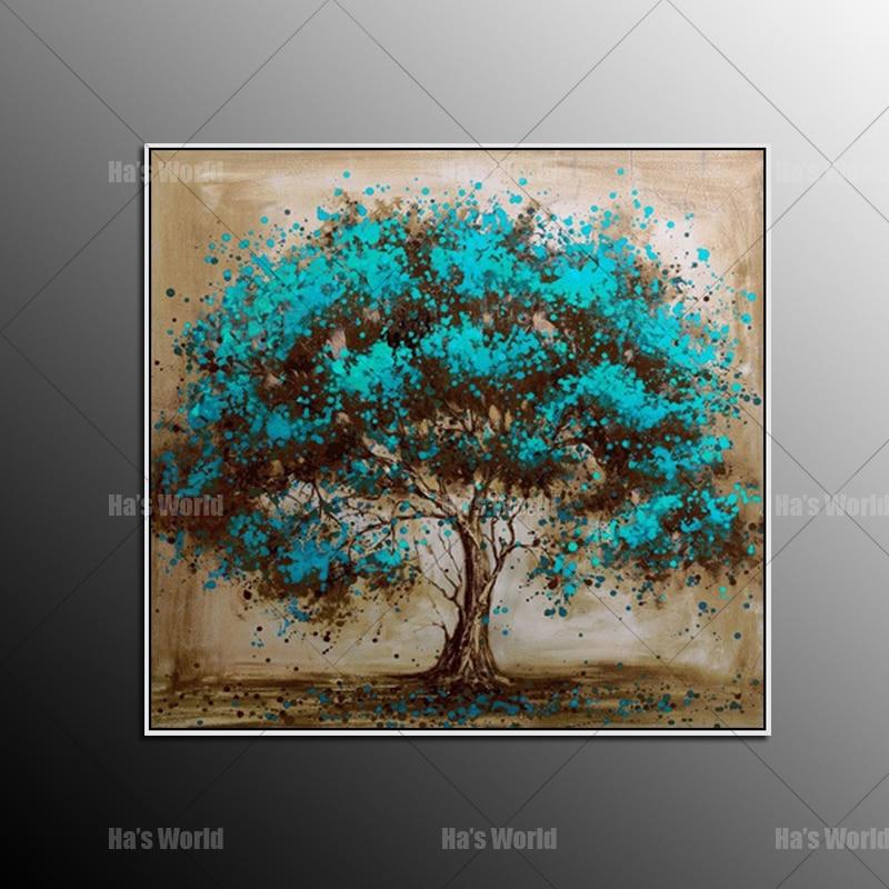 Ručně malované moderní abstraktní modrý strom plátno umění dekorace olejomalba nástěnné obrazy pro barvy obývacího pokoje