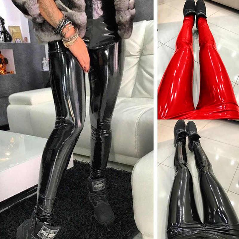 Calças Das Senhoras Das Mulheres Pantalon Femme Taille Haute HOUZHOU Calças De Couro Sexy Slim Pu Magro Hip Push Up Calças Lápis Sólidos alta