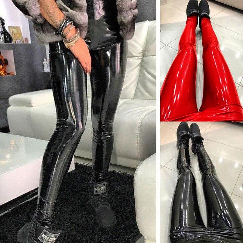HOUZHOU Hosen Frauen Damen Pantalon Taille Haute Femme Leder Hosen Sexy Dünne Dünne Pu Hüfte Push-Up Feste Bleistift Hosen hohe