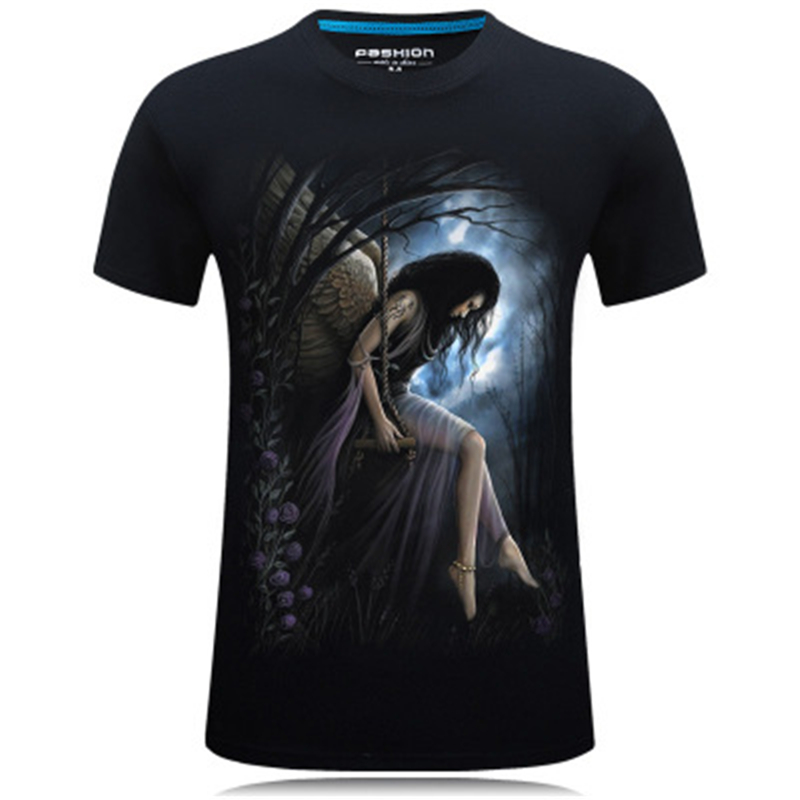 Summer T Shirts Men 3D Printed Angel Causal Brand-clothing Short Sleeve T-shirts Male Tees Round Neck Hip Hop Pullover Top