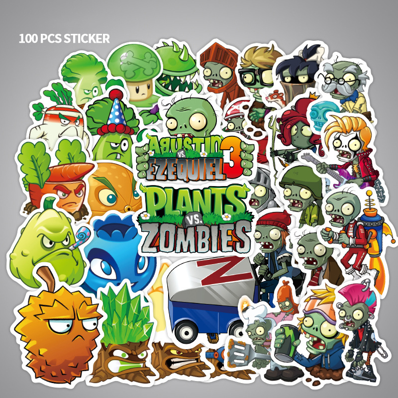 100pcs Cartoon Stickers  PVZ Plants Vs Zombies Stickers Classic Toys Children Scrapbook Diary Note Book Sticker For Kids Gift F3