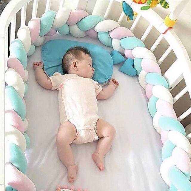 1,5/2,0 M bebé hecho a mano nudo nórdico recién nacido cama parachoques anudado trenza almohada bebé cuna lados cuna parachoques bebé decoración de la habitación