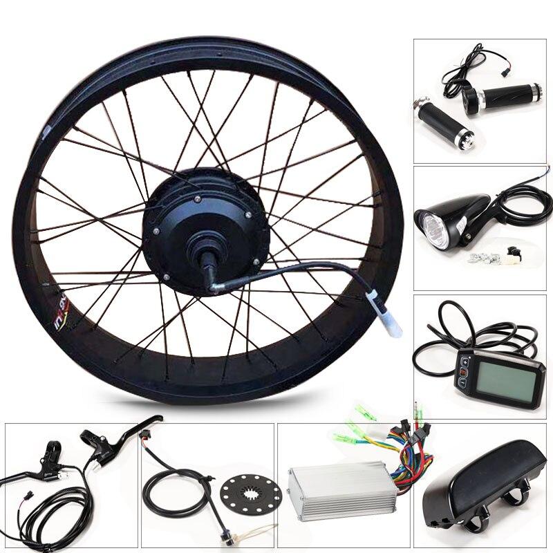 Ebike 36 V 350 W kit vélo électrique pour 20x4.0 pouces roue moteur bouilloire batterie led LCD voiture électrique e kit de conversion de vélo