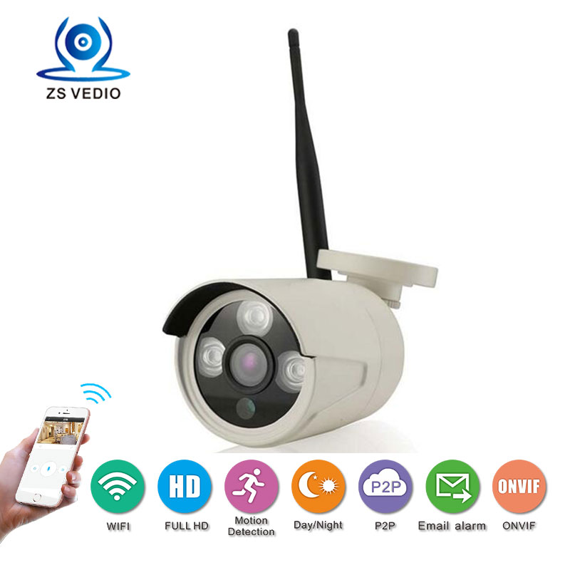 ZSVEDIO CCTV wireless WiFi IP camera Onvif P2P H.264 full HD 1080P security metal Bullet night vision high Definition monitor ip varifocal lens bullet 1080p camera h 264 2 0mp full hd infrared color sony cmos bullet cctv camera wtih onvif2 4 night vision