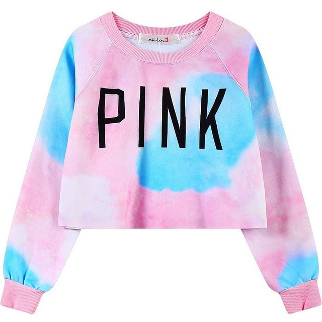 220a467d543 2017 Hot Sexy Crop Top Women Hoodies PINK Letters Printed Dazzle Colour Female  Cotton Short Hoodie Girls Thin Casual Sweatshirts