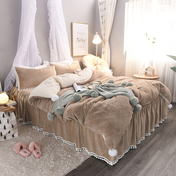 Brown White Pink Gray Girls Winter Thick Flannel Bedding Set Soft Fleece Fabric Duvet Cover Bed Sheet/Linen Bed Skirt Pillowcase pink cherry strawberry printing fleece fabric girl bedding set flannel duvet cover bed sheet linen pillowcase crown big backrest