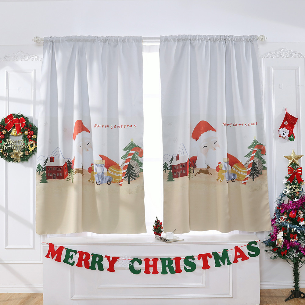 Fashion Christmas Window Curtain Tulle Blackout Treatment Voile Drapes Valance Curtain Fabric Curtains For Living Room Cortinas