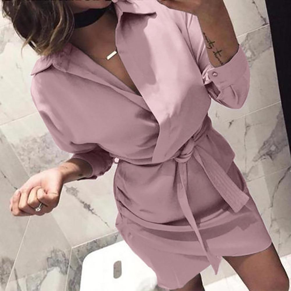 Women's Clothing Shirt Dress 2018 Women Autumn Summer Dress Long Sleeve Turn-down Collar High Steeet Dress Blet 4 Colour Office Dresses