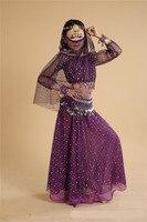 Indian Sari Girls Dress Orientale Enfant Children Belly Dance Costumes Kids Belly Dancing clothes 7pcs/set More Colors