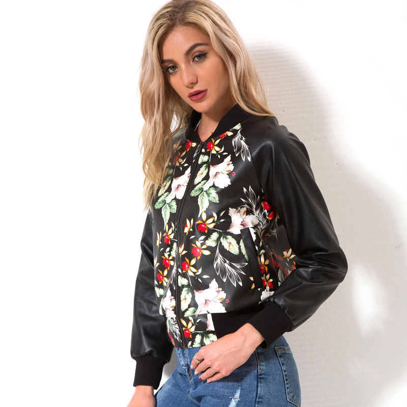 Lusumily Printing Soft   Leather   Motorcycle   Leather   Jackets Ladies Zipper Loose New Spring Autumn PU Floral Baseball Coat Women