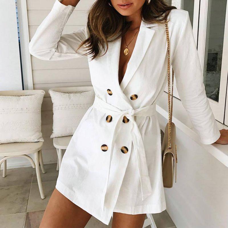 Women Long Sleeve Tunic Double Windbreaker Overcoat Slim Fit   Trench   Coat Solid Thin Outwear