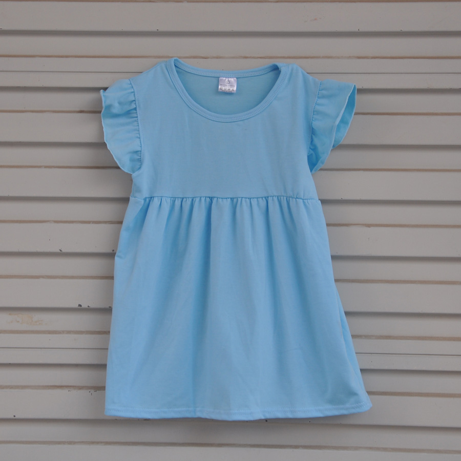 Factory Selling Toddler Style Girl Dresses Sleeveless Design Blue Princess Costume Solid Print Dress Kids Clothes DX028