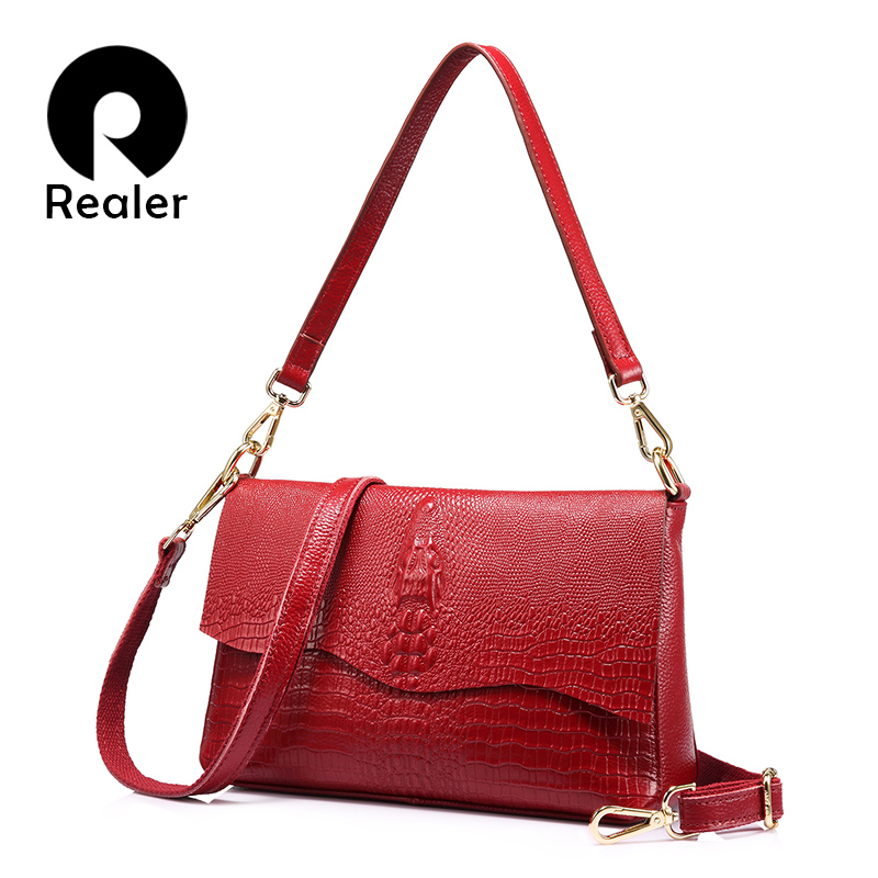 Realer brand women shoulder bag leather with crocodile print handbag fashion ladies chain zipper messenger bags clutches realer brand women shoulder bag with