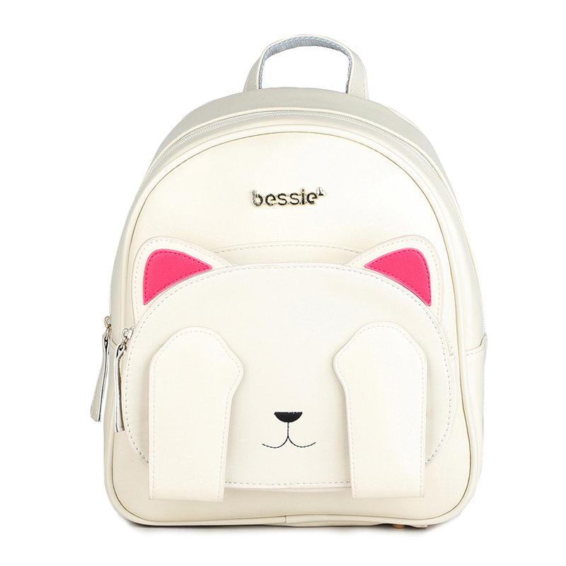 Cute Cat Backpack School Women Pu Leather Backpacks For Teenage Girls Funny Cats Ears Canvas Shoulder Bags Female Mochila Xa531b #4