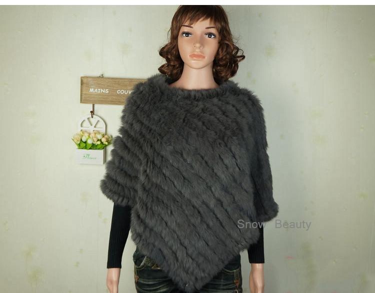 natural real knitted rabbit fur poncho shawl (27)