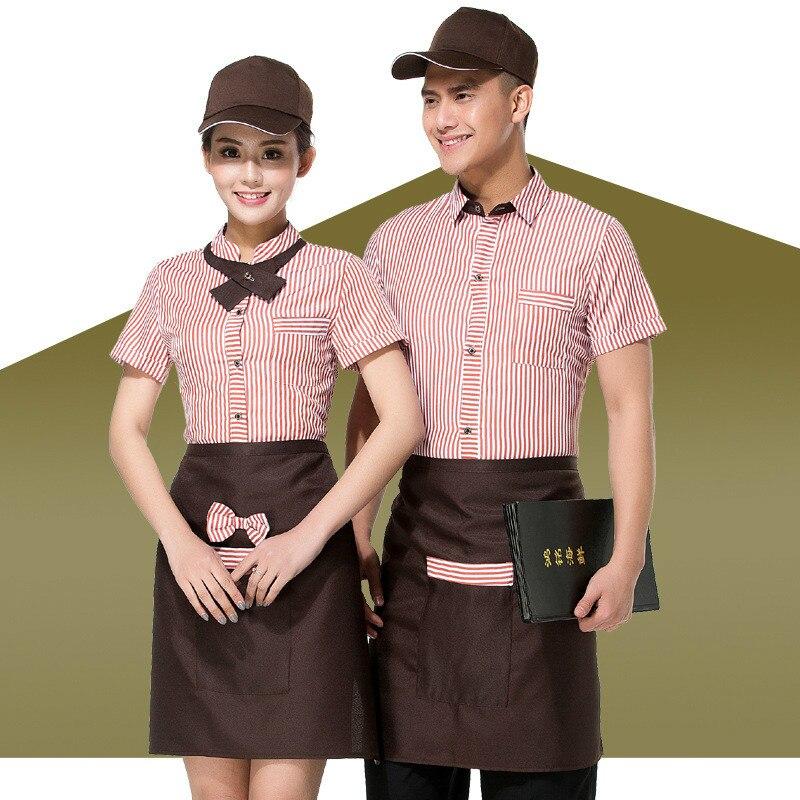 Hotel Restaurant Wiater Uniform Women Coffee Shop Waitress Uniform Short Sleeve Fast Food Work Service Wear Bar Work Clothing 90