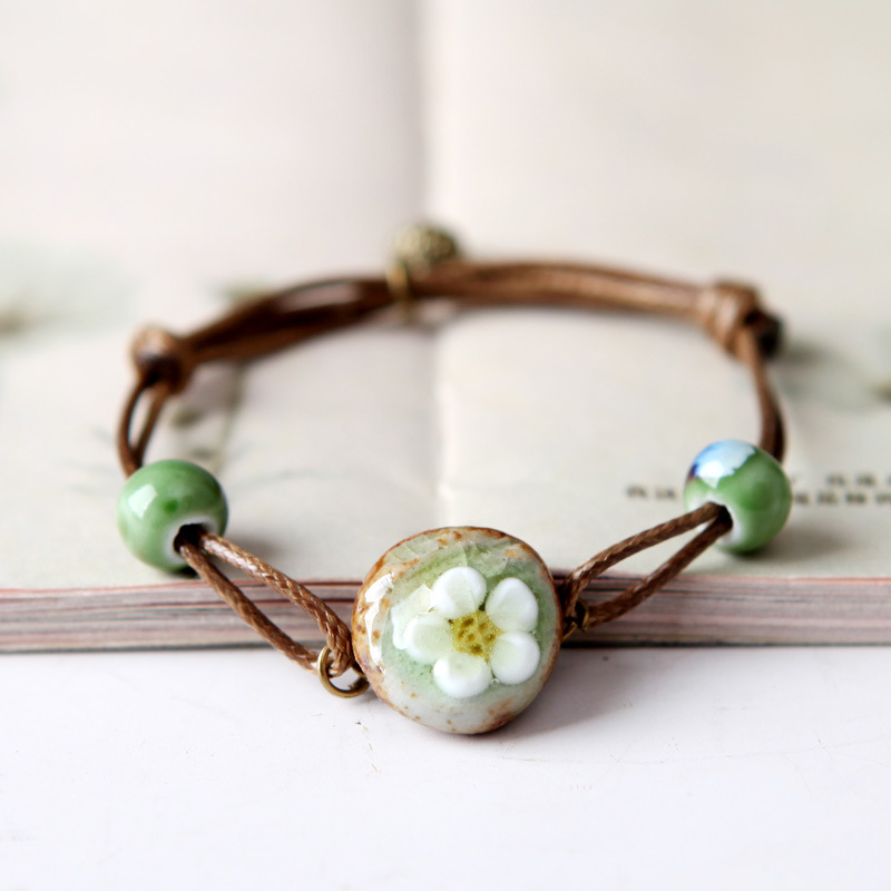Ethnic wind ceramic bracelet beads couples jewelry ceramic creative crackle stri