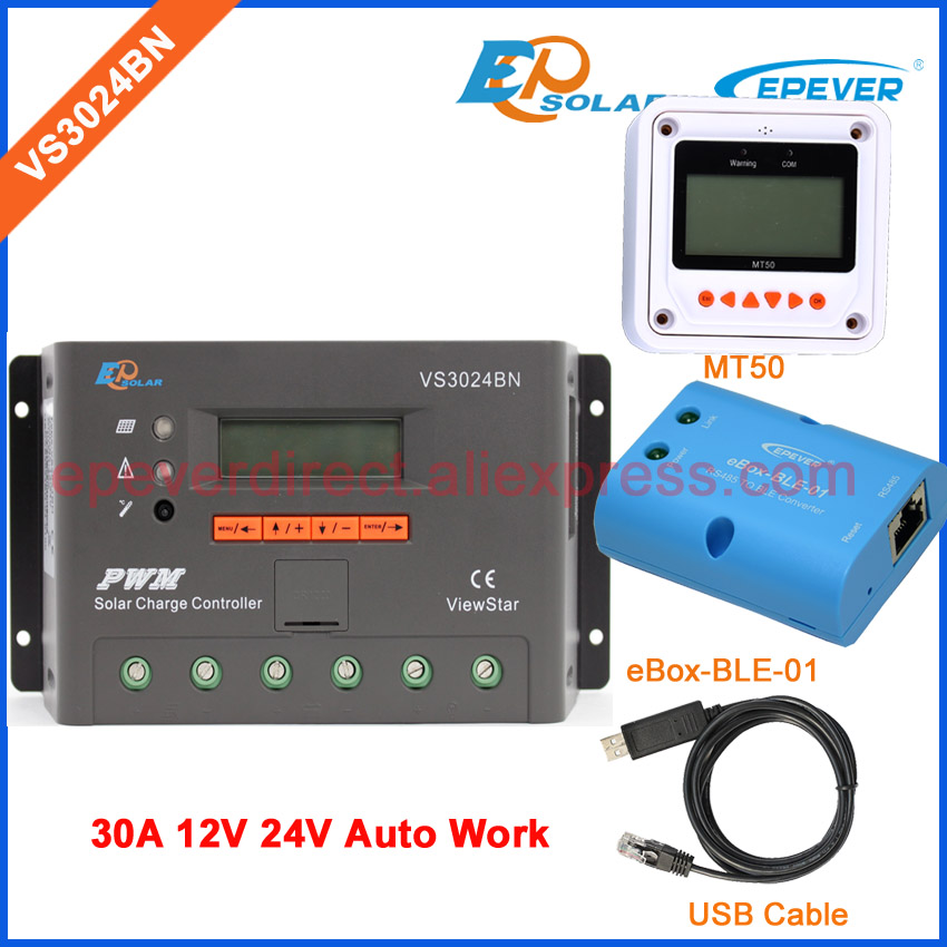 EPSolar Bluetooth function eBOX-BLE-01 VS3024BN 30A 30amp USB cable and MT50 remote meter solar portable controller built in LCD ep new series pwm regulator solar panel system controller with usb cable and mt50 remote meter vs3024bn 30a 30amp