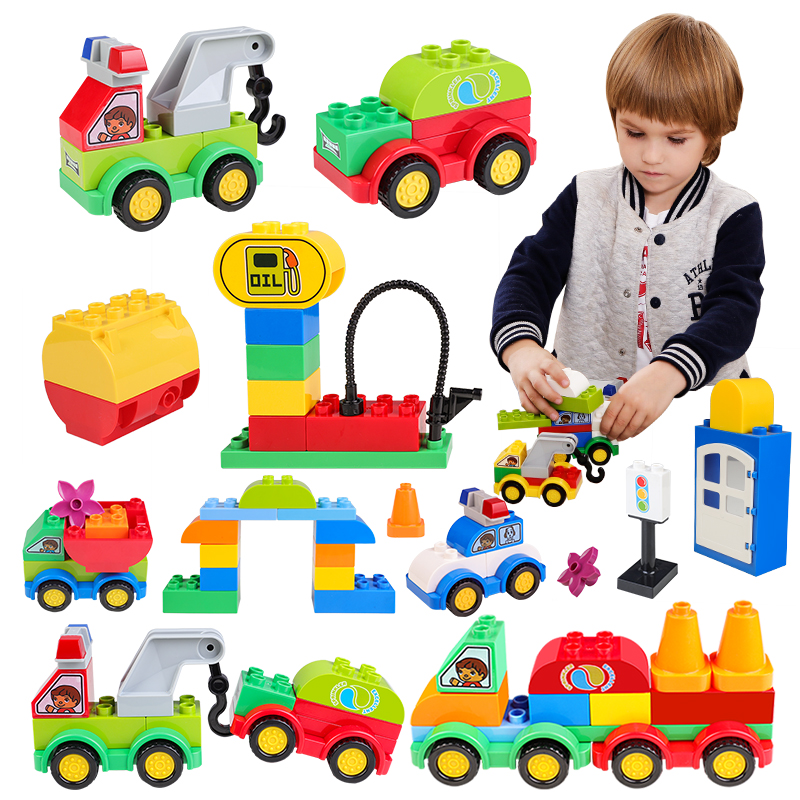 DIY Big Size City Building Blocks Car Model Compatible With Legoed Duploed Bricks Hobbies Toys For Baby Children huimei city rail car diy model big building blocks bricks baby early educational learning gift toys for kids children