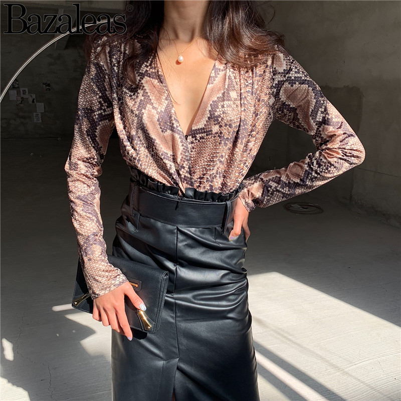 Honey 2018 Casual Playsuit Female Jumpsuits Women Snake Fear Print Bodysuit Rayon Smooth Playsuits Basic Rompers Long Sleeve Women's Clothing