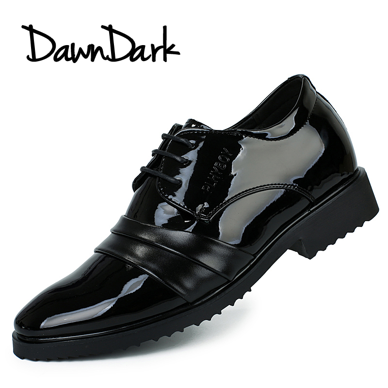 Leather Dress Shoes for Men Black Male Formal Pointed Toe Wedding Footwear Lace Up Man B ...