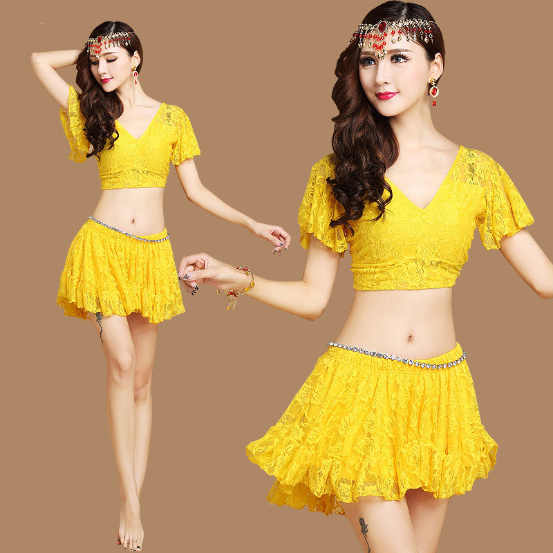 2017 Hot Sale New short-sleeved V-neck belly dance set Milk Silk Belly Dance Costumes women for dancers clothing 6 colors