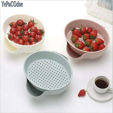 Multi-function Double Layer Fruit Vegetable Container Plastic Drain Basket Drip Dry Storage Holder For Fruits Vegetables Snacks