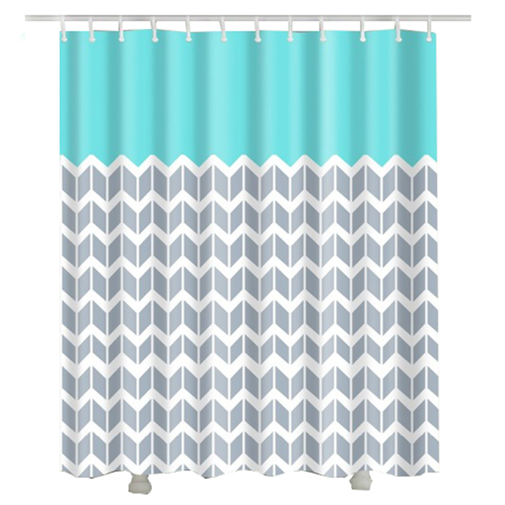 Wave Printed 2017 New Bathroom Curtain Europe Style New Waterproof Polyester Fabric Shower Curtain
