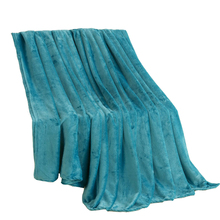 Jagdambe Coral Fleece Blanket Solid Blue Polyester Plaid Bedsheet Single Doube Bed Queen King Size Faux