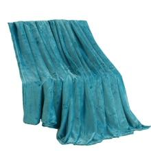 Jagdambe couverture polaire corail, Plaid en Polyester bleu uni, drap de lit, lit simple, doubé, lit Queen Size King Size, en fausse fourrure sur lit
