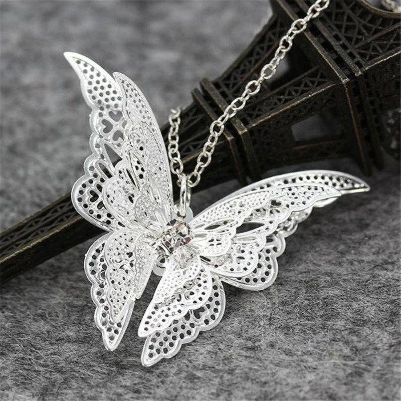 Stylish Wild Necklace Luxury Long Pendant Necklace Popular Lovely Butterfly Pendant Chain Necklace Luxury High Quality SL1 L0326