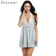 Ekouaer Women Sexy Nightgown Lace Halter Backless Night Dress Sleepshirts Lounge Dress Nightie Nightwear Nightdress Female Cloth