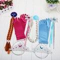 4Pcs/Set Elsa Anna princess crown magic wand braid gloves Magic Wand + Rhinestone Hair Crown + Glove Set Girl Free Shipping
