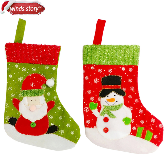 2019 santasnowman decoration stockings christmas decorations hanging socks gift candy sack bag home decor - Christmas Socks Decoration