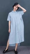 Ouinon QQ2 Femmes 100% Coton Long Bouton-Vers Le Bas Chemise Robe Blouse Côté de Split Femme D'été Robe Irrégulière Ourlet Féminin robes