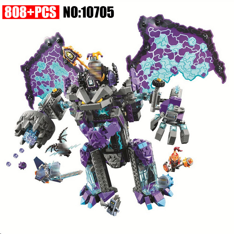 808PCS Nexus Knights The Stone Colossus of Ultimate Destruction Building Blocks DIY Toy Christmas Gift Compatible With 70356 active round neck cut out loose sweatshirts in grey