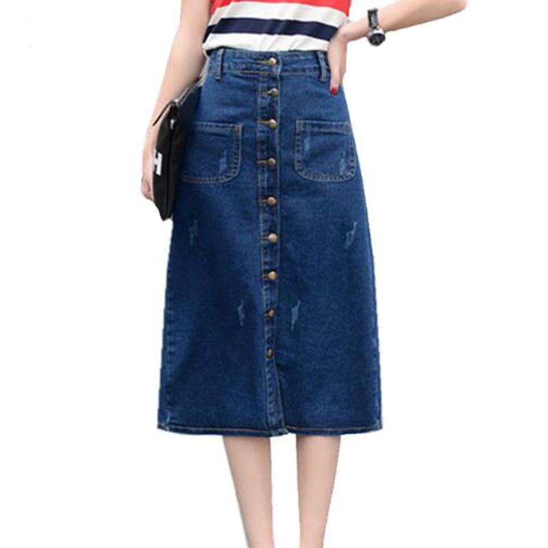 Online Get Cheap Plus Size Long Denim Skirts -Aliexpress.com ...