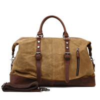 Waterproof Canvas with Leather Big Travel Bags Vintage Military Duffle Handbag Carry on Traveling Large Luggage Tote Bag Weekend