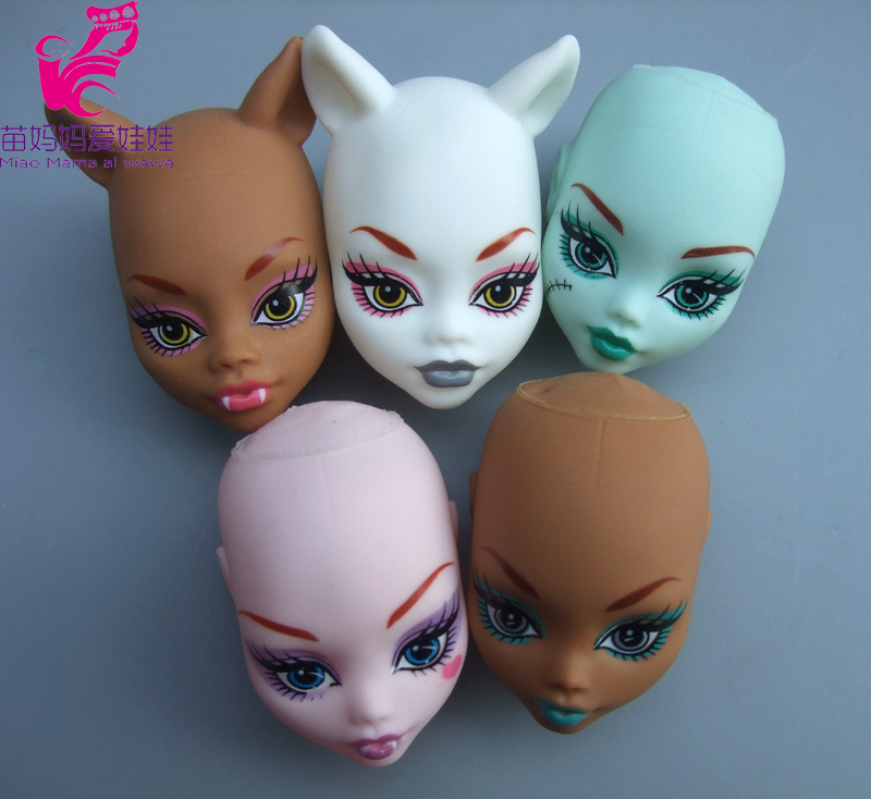 5pieces /lot  Plastic Wig Diy Head Practice Makeup DIY Doll Heads For Monster High Doll