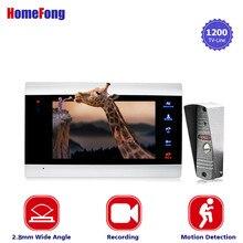 Homefong 1200TVL HD телефон видео домофон системы с дверной звонок с записью данных камера широкий формат обнаружения движения ночное видение