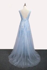 Image 2 - SSYFashion gorący bubel słodka lekka niebieska koronka dekolt sznurowanie długa suknia panna młoda Party Sexy suknie bez pleców na bal maturalny zwyczaj