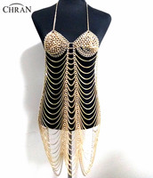 Gold Silver Color Sexy Women Harness Full Body Chain Belly Waist Fashion Costume Chain Bra Dress